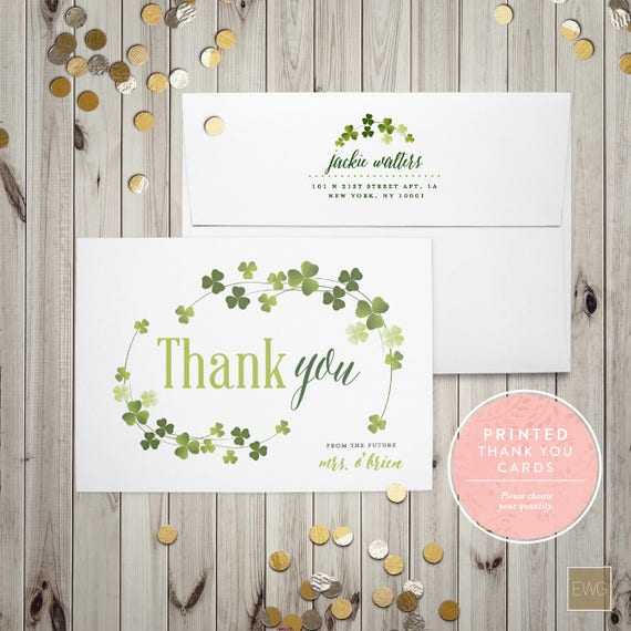 Printed Thank You Cards Shamrock Thank You From The Future Etsy
