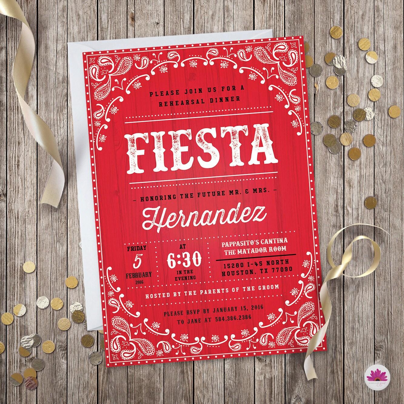 Fiesta Rehearsal Dinner Invitation Bandana Theme Digital | Etsy