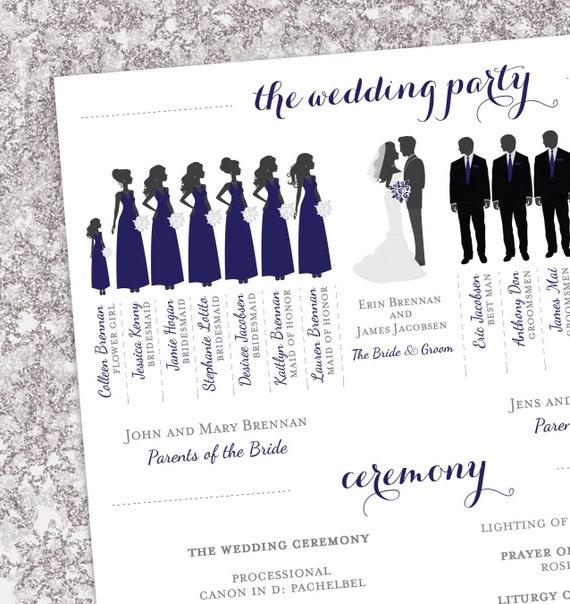 winter wedding program bridal party silhouettes digital etsy