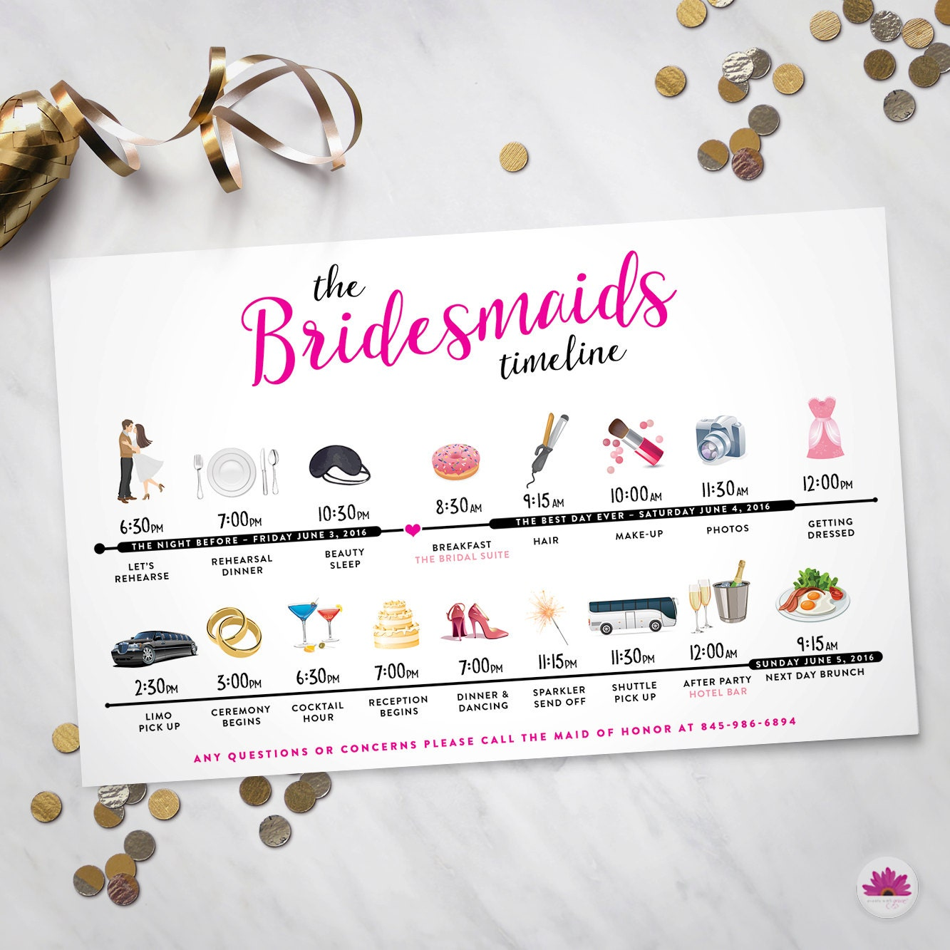 Bridesmaids Big Day Time Line Wedding Day Time Line