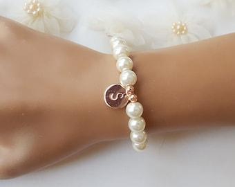 Bridesmaid bracelet earrings bridesmaid gift wedding gift bridal shower gift ivory pearl bracelet pearl jewelry set pearl jewelry