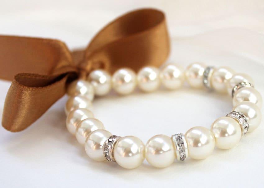 bracelet perles de demoiselle d 39 honneur ruban satin etsy. Black Bedroom Furniture Sets. Home Design Ideas