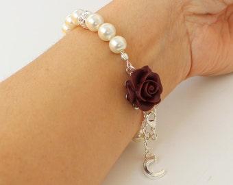 Pearl bracelet, burgundy wedding, burgundy bridesmaid jewelry, personalized jewelry, wedding gift, bridal shower gift, rose bracelet