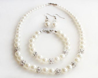 Bridesmaid jewelry gift, pearl necklace bracelet earrings, wedding jewelry set, bridesmaid pearl jewelry, crystal rhinestone, wedding gift