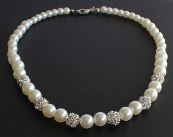 Pearl necklace, bridesmaid necklace, bridesmaid jewelry, wedding gift, pearl and rhinestone, bridal shower gift, ivory pearl necklace