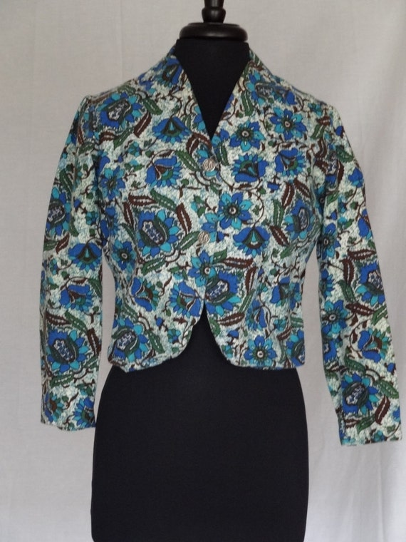 SALE!!! 1950s 60s Jacket / Blue & Brown Abstract F