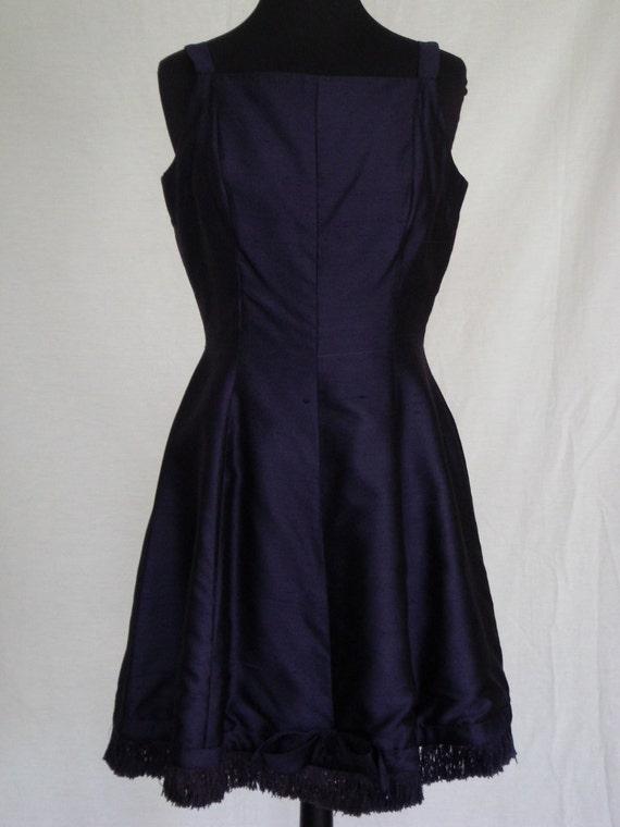 1950s Dress / Navy Raw Silk Party Dress w Fringe &