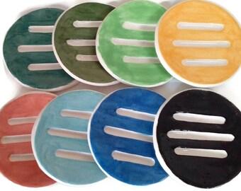 Ceramic soap dish, draining soap dish,  pottery soap dish, porcelain soap holder, handmade soap dispenser, clay soap saver for daily use