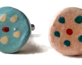 Ceramic cufflinks, round green cufflinks, stoneware cufflinks, flower cufflinks, handicraft cufflinks, unique cufflink, fancy clay cufflink