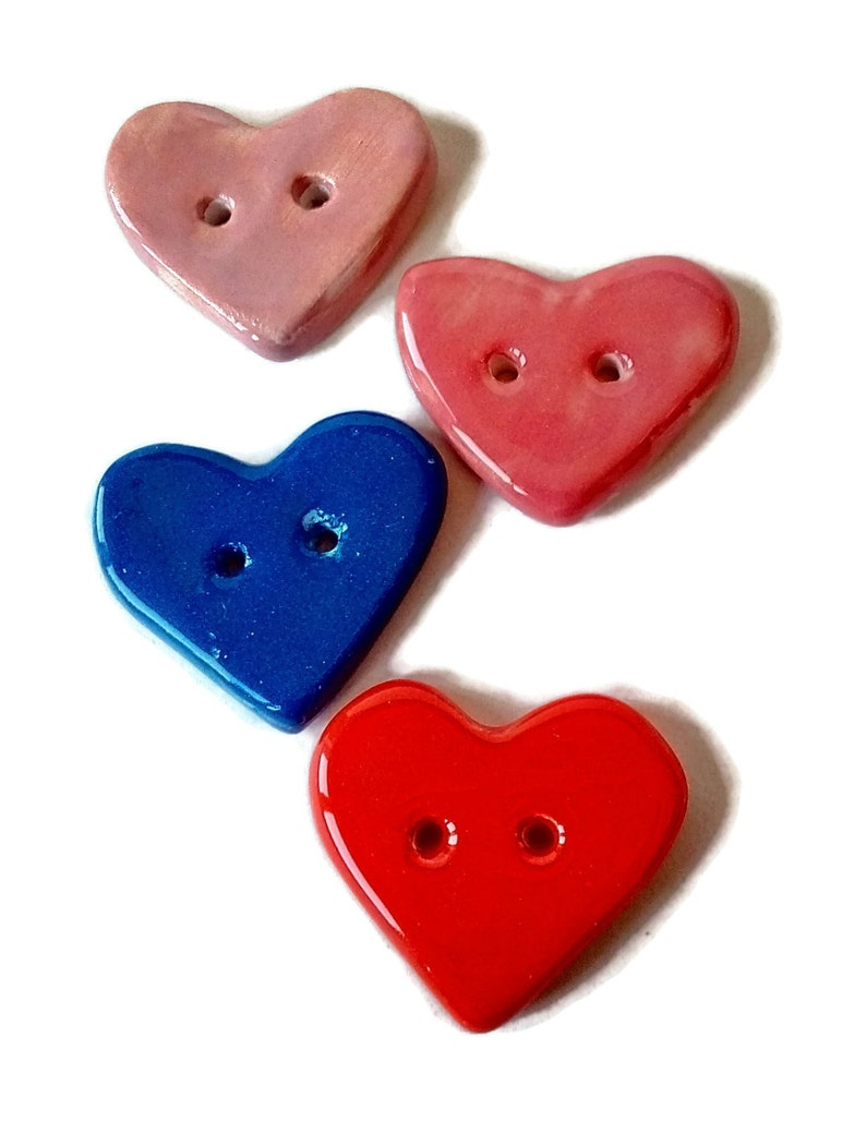 Heart shaped button, clay heart button, ceramic heart button, porcelain  button, individual heart button, needlecraft button, handmade heart