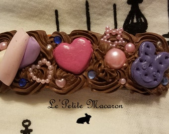 Large Sweet Lolita Deco Barrette 1 Marshmallow Choco Bunny