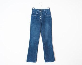 1e138e93306 on sale - semi high waist flared jeans   medium wash button-up denim   size  24