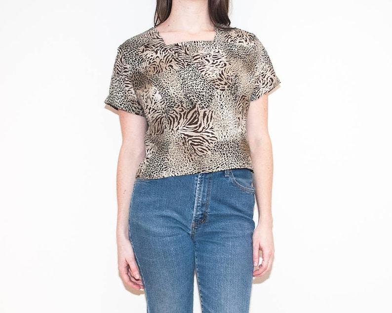 9f44c1c49f3114 On sale 80s 90s beige animal print blouse / leopard tiger | Etsy