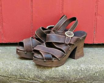 70s platforms | 1970s wooden platform sandals | vintage platform shoes | brown leather sandals