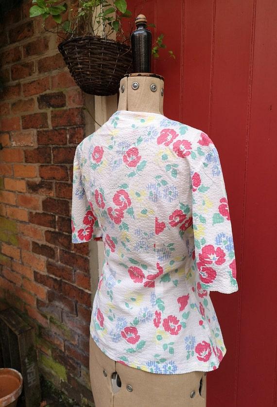 1940s seersucker cotton blouse   40s sportswear b… - image 7