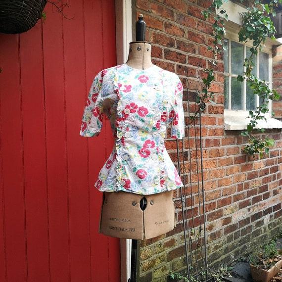 1940s seersucker cotton blouse   40s sportswear b… - image 2