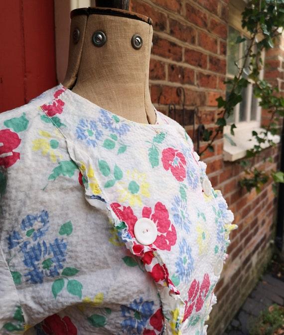 1940s seersucker cotton blouse   40s sportswear b… - image 3