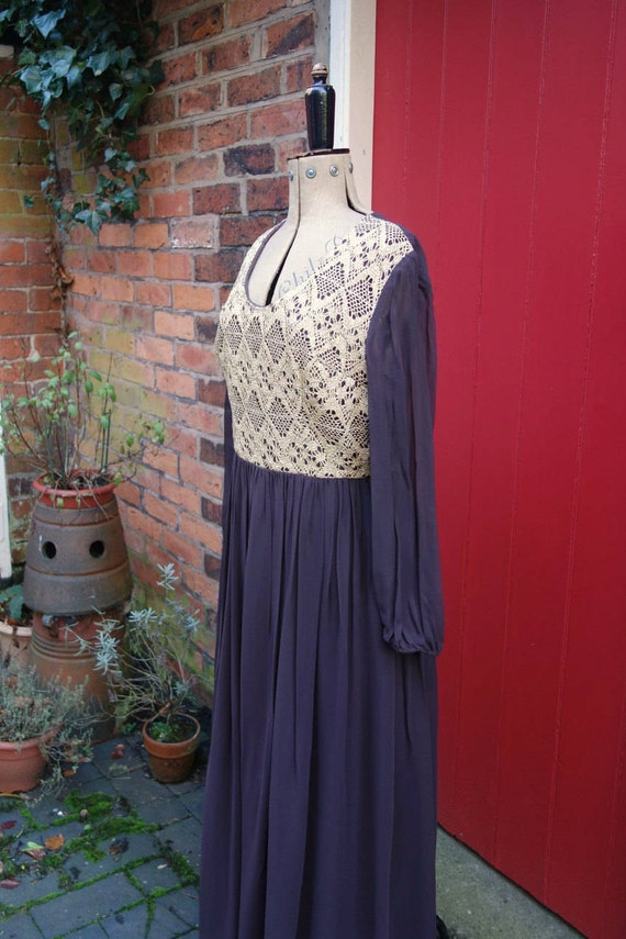 1970s maxi dress | 70s brown and gold dress | vint