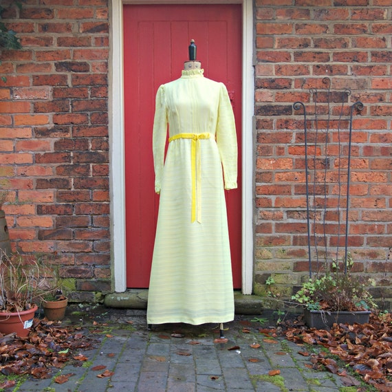 1960s Quad maxi dress | late 60s 70s yellow dress