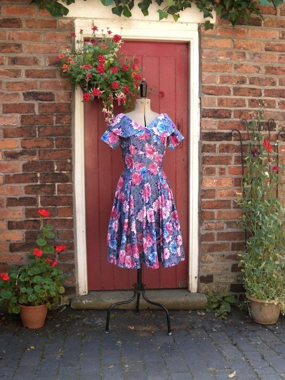 1950s New Look dress | 50s floral print dress | vi