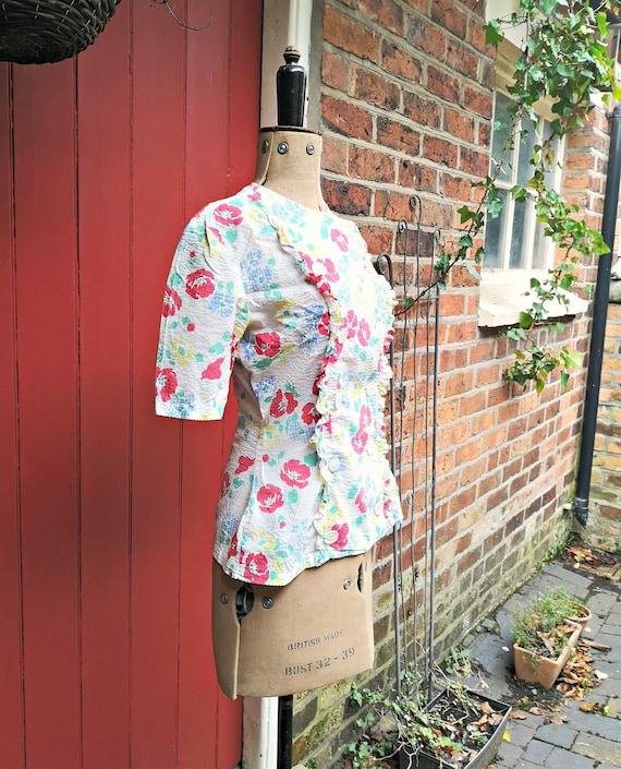 1940s seersucker cotton blouse   40s sportswear b… - image 5