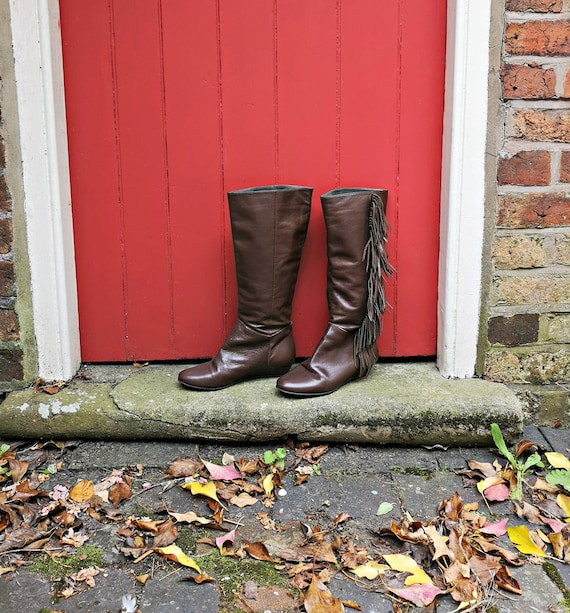 Vintage fringe boots   1970s style tassel boots  