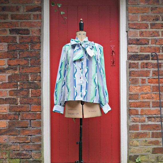 Brick Print 70/'s Blouse