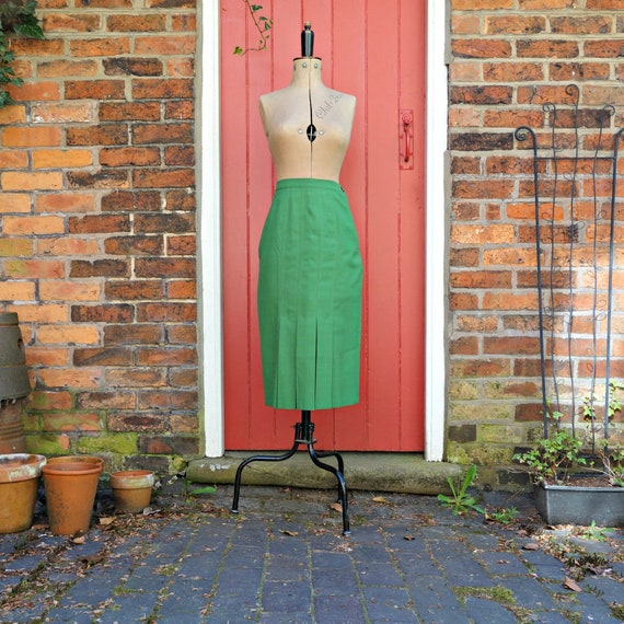 60s green midi skirt | 1960s pleated pencil skirt
