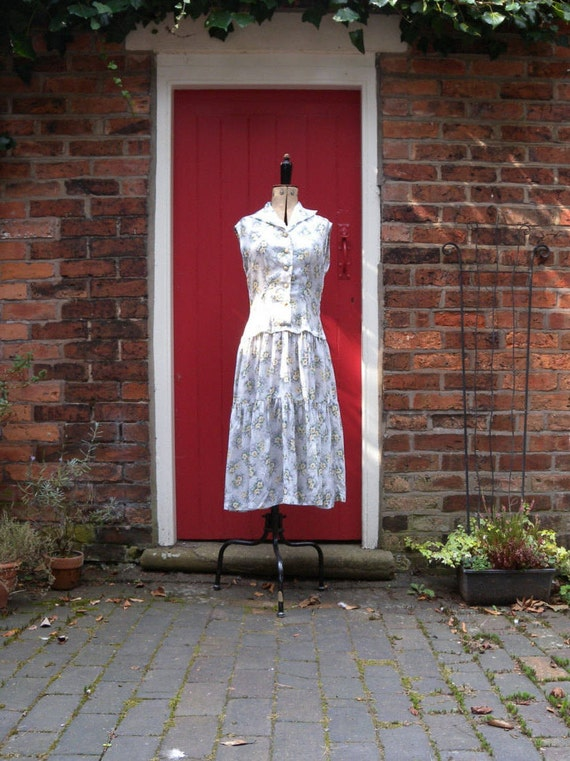 1950s rayon dress | 50s primrose print dress | mid