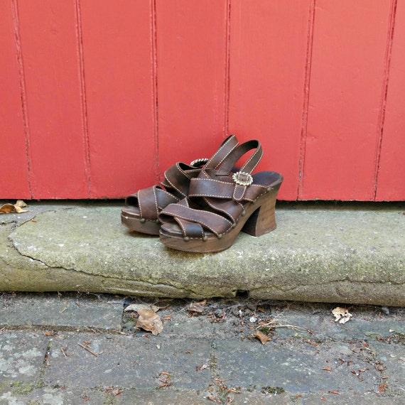70s platforms | 1970s wooden platform sandals | vi