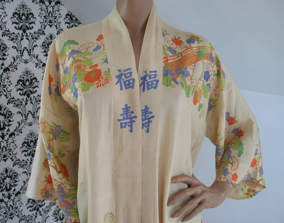 Rare Iconic 1920s30s Vintage PONGEE SILK Floral Asian Print Boudoir Robe Lingerie, Japanese Kimono, Art Deco, Lounge Wear, EXCELLENT!!