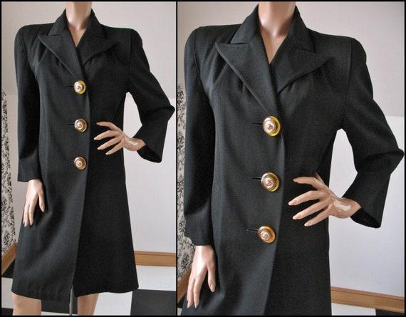 REDUCED PRICE...Vintage 1940's Black Gabardine Woo