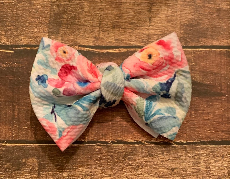 Watercolor Floral Medium Bow Pink Blue