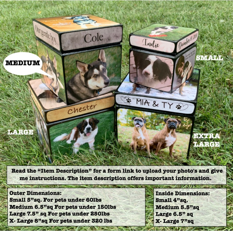 Dog Urn for ashes Customized Dog Urn with Picture Pet Urn for Dogs Size MEDIUM