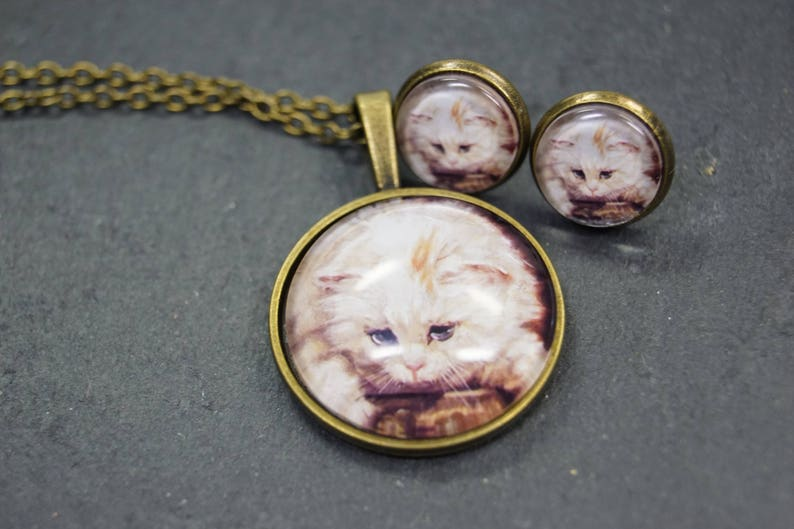 Set jewelry Cat Earring and Necklace