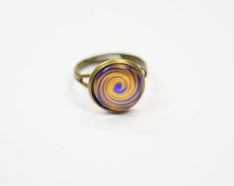 Ring orange purple adjustable