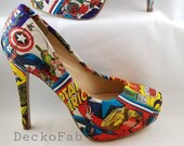 Captain America Inspired High Heel Pumps - Women's Heels - Custom Heels - Custom Shoes - Wedding - Birthday Gift - Stilettos - Low Heels