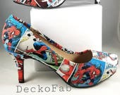 Spiderman Inspired Low Heel Pumps - Women's Heels - Custom Heels - Custom Shoes - Wedding - Birthday Gift - Stilettos -High Heel Pumps