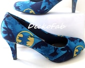 Batman Inspired Low Heel Pumps  - Women's Heels - Custom Heels - Custom Shoes - Wedding - Birthday Gift - Shoe - Stilettos -High Heel Pumps
