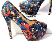 Superman Inspired High Heel Pumps - Women's Heels - Custom Heels - Custom Shoes - Wedding - Birthday Gift - Shoe - Stilettos -Low Heel Pumps