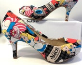 Alice in Wonderland Inspired Low Heel Pumps - Women's Heels - Custom Heels - Custom Shoes - Wedding - Birthday Gift - Shoe - High Heels