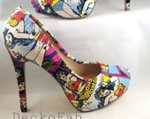 Wonder Woman Inspired High Heel Pumps - - Women's Heels - Custom Heels - Custom Shoes - Wedding - Birthday Gift - Stilettos - Low Heel Pumps