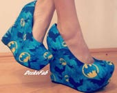 Batman Inspired Wedges - Custom Wedges - Women's Shoes - Wedge Pumps - Platform Wedges - Custom Shoes - Wedding - Birthday Gift - Shoes