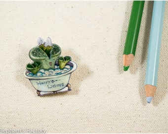 Hand drawing animal plants series - Happy lithops pin