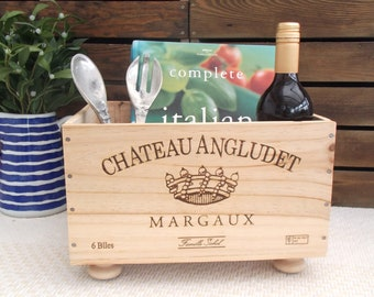 Wine present | wooden crate | kitchen storage | wine rack | kindling box | Wine box | 5th anniversary | wedding present | wine lover |