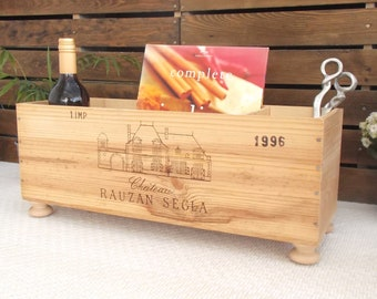 Kindling box | Fireplace storage | wooden wine crate | wine rack | New home gift | Wine lover |  fireplace | kitchen | French country style