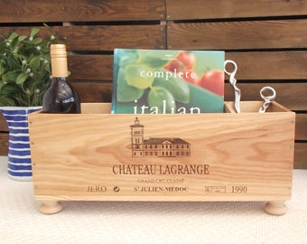 Wine gift | French wine box | wooden crate | Kitchen storage | New home gift | kindling box | Log box | fireplace box | wine rack | cottage