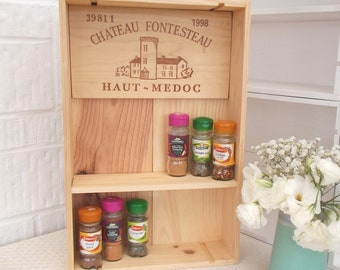 Spice rack | French wine box shelf | cottage decor | kitchen shelf | wine gift | housewarming present | wedding gift | wine rack | wall