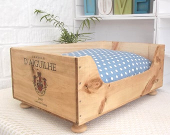 Wooden wine box cat bed  | cat basket | cat present | pet bed | wine crates | French style | kittens | polka dot | blue cushion|wedding gift