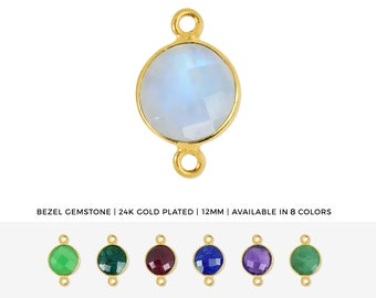 7x5mm Faceted Gemstone Pendant GemMartUSA Oval Shape Gold Bezel Connector 10327 24k Gold Plated Double Bail Gemstone Connector